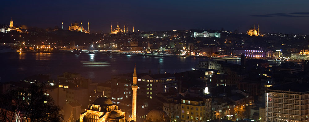 The Istanbul night view from the upper sea view floors at Witt Istanbul Hotel.