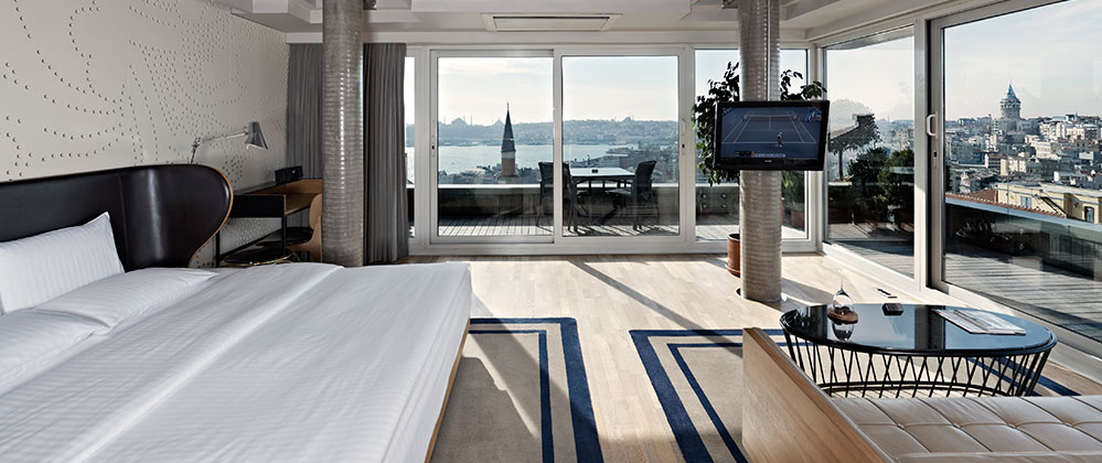 Spacious view of Penthouse at Witt Istanbul Hotel.