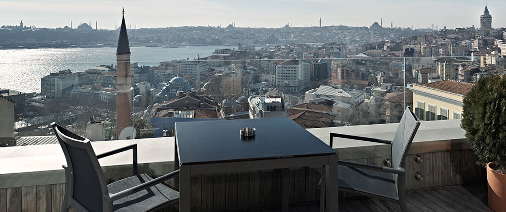 Balcony view of Penthouse at Witt Istanbul Hotel.