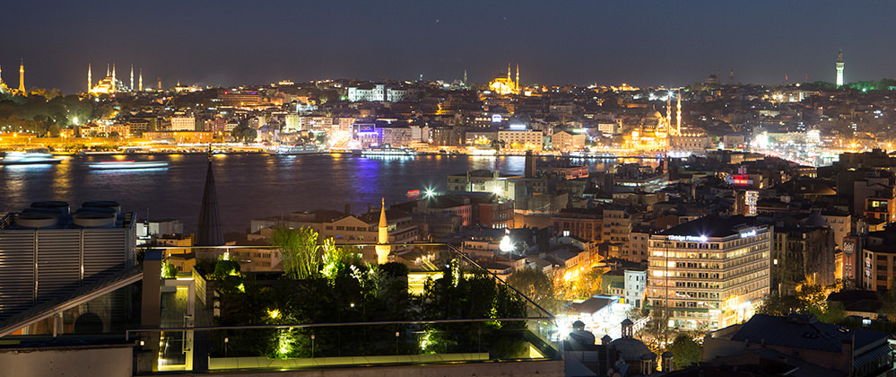 Witt Istanbul roof garden with Golden Horn view by night